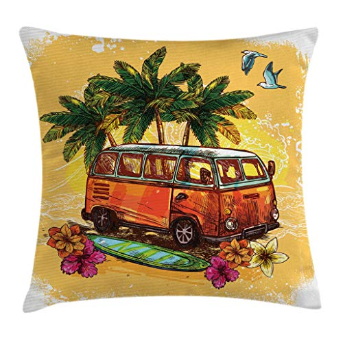 Ambesonne Surf Throw Pillow Cushion Cover, Hippie Classic Old Bus with Surfboard Freedom Holiday Exotic Life Sketchy Art, Decorative Square Accent Pillow Case, 18