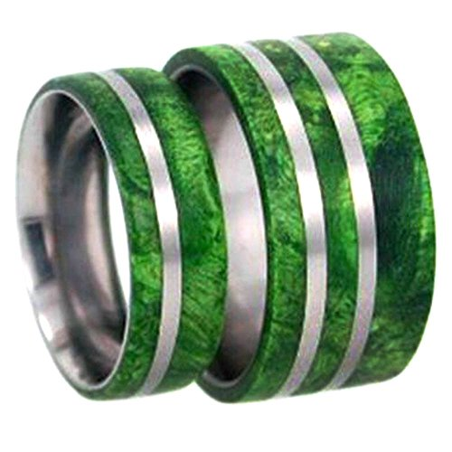 Green Box Elder Burl Wood Comfort-Fit Titanium His and Hers Wedding Band Set, M15-F8 by The Men's Jewelry Store (Unisex Jewelry)