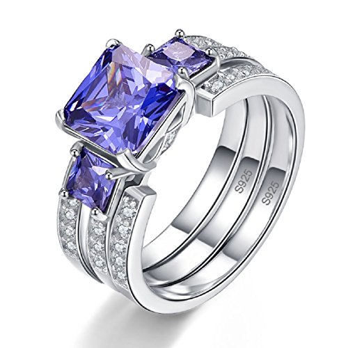 BONLAVIE 925 Sterling Silver W/Tanzanite & Cubic Zirconia 3 Stone Eternity Wedding Ring for Women Size - Stone Tanzanite Ring 3