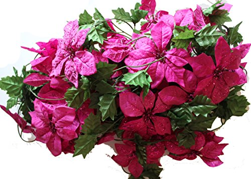 Set of 3 Sparkling Christmas Garlands with Artificial Poinsettia Flowers - 5 Foot X 3, 15 Total!! (Hot ()