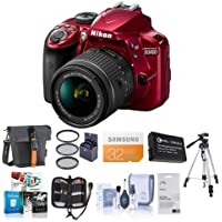 Nikon D3400 DX-Format DSLR Camera Body with AF-P DX NIKKOR 18-55mm F/3.5-5.6G VR Lens - Red - Bundle With 32GB SDHC Card, Camera Bag, Spare Battery, Tripod, 55mm Filter Kit, Software Package, More