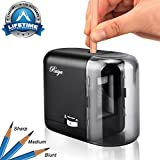 #4: Electric Pencil Sharpener, Auto-Stop Feature and Best Heavy Duty Helical Blade Sharpeners for Office School Classroom Kids Artists, AC or Battery Operated for 2# & Colored Pencils. (Black)