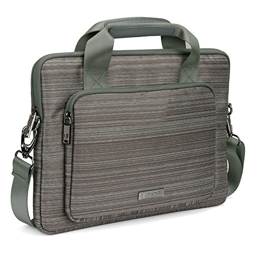 Evecase Apple Macbook Air 13 / Microsoft Surface Book 13.5 inch Laptop Suit Fabric Multi-functional Briefcase Case Tote Bag with Shoulder Strap - Gray