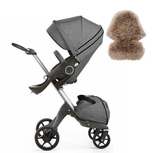 Stokke Xplory V5 Stroller, Black Melange & Sheepskin Lining, Brown Set