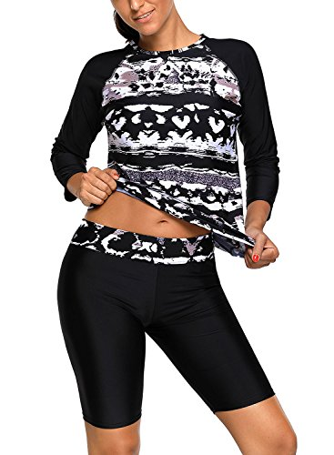 Aleumdr Surfing Suit Women Long Sleeve Rash Guard Sun Protection Swimwear Print Pattern Tankini Top Wetsuit Swimsuits Swim Shirts With Cropped Pants Small - Swimsuit Wetsuit Womens