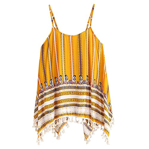 - HOT Sale! Women's Summer 2018 Tassel Boho Floral Yellow Strap Tank Tops Comfort Crop Top Tee T-Shirt (M❤️, Yellow)