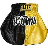 Blitz Kid's Muay Thai Shorts, Yellow/Black, 9-11 Years