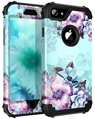 Casetego Compatible iPhone 8 Case,iPhone 7 Case,Floral Three Layer Heavy Duty Hybrid Sturdy Armor Shockproof Full Body Protective Cover Case for Apple iPhone 8/7,Blue Flower (Apple Iphone Flower)