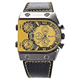 Mudder OULM Mens Oversize 3 Time Zone Military Sport Leather Quartz Watch, Yellow