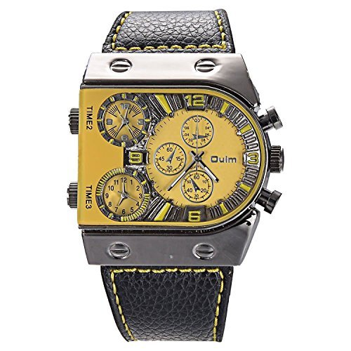 Mudder OULM Mens Oversize 3 Time Zone Military Sport Leather Quartz Watch, Yellow by Oulm