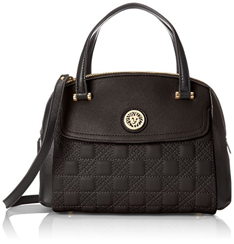 Anne Klein All In The Stitches Satchel Top Handle Bag BlackBlack One Size