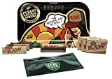 RAW Rolling Tray Small''RAW Brazil'' by JBatista, RAW 1 1/4 Rolling Papers (Classic, Black, Organic), RAW Roller, Pre Rolled Tips (3 Packs), with Leaf Lock Gear Spill Proof Bag - 9 Item Bundle
