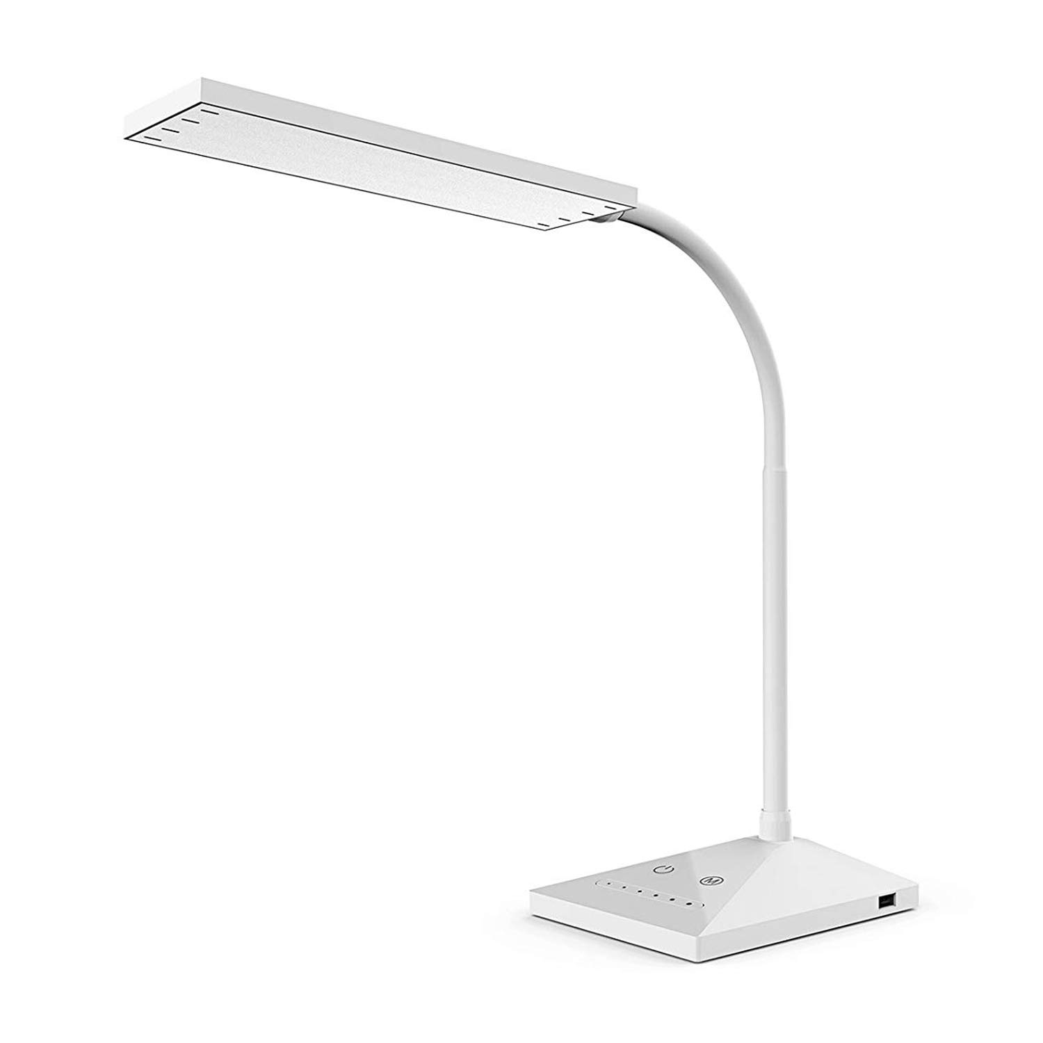 KEXIN LED Desk Lamp with 5 Color Modes and 7 Brightness Levels, 12W Eye-caring Dimmable Touch Sensitive Control Gooseneck Reading Lamp,Office Table Lamp with USB Charging Port, Memory Function - Black