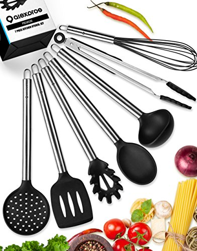 Kitchen Utensils Set - Silicone Cooking Utensils Set - Kitchen Utensil Set - 7 Silicone Utensils Set - Stainless Steel Utensils - Cooking Utensil Set Spatula Set - Kitchen Tools Gadgets - Ladle Spoon