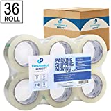 """Industrial Grade Clear Packing Tape (36 Rolls) - 110 Yards per Roll - 2"""" Wide x 2 mil Thick, Acrylic Adhesive Heavy Duty Tape for Box Office Moving Packaging Shipping"""