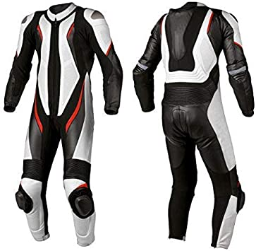 Motorcycle White and Black One Piece Leather Racing 364 Suit CE Approved Protection 2XL
