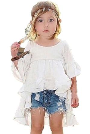 7550e1088699a ハナハナ) HANAHANA 綿 柔らか フリルテール チュニック 白 ブラウス シャツ 子供服 キッズ 女の子