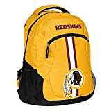 1pc Large NFL Redskins Backpack, Polyester, Stripe Logo Football Themed Strap Back Sports Pattern, WSH Merchandise Athletic American Team Spirit Fan School Bag Yellow Black White