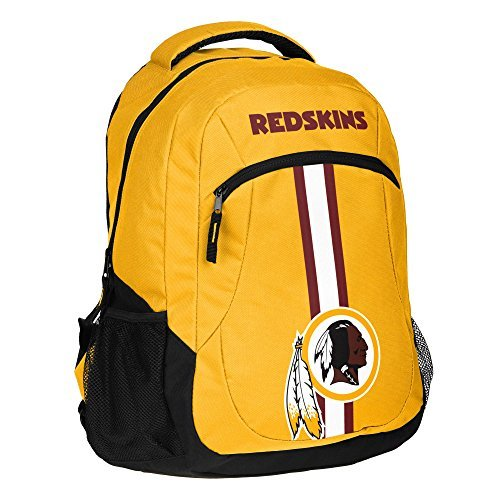 1pc Large NFL Redskins Backpack, Polyester, Stripe Logo Football Themed Strap Back Sports Pattern, WSH Merchandise Athletic American Team Spirit Fan School Bag Yellow Black White by Unknown