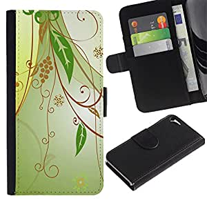 Ihec-Tech / Flip PU Cuero Cover Case para Apple Iphone 5 / 5S - Design Floral Green