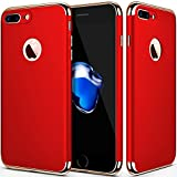 iPhone 7 plus case,iPhone 8 plus,Case for Apple iPhone 7 plus,iphone 8 plus,Seekfull Ultra Thin 3 In 1Slim Hard Shockproof Coated NonSlip Matte case with Tempered Glass Screen Protector(5.5'') (Red)