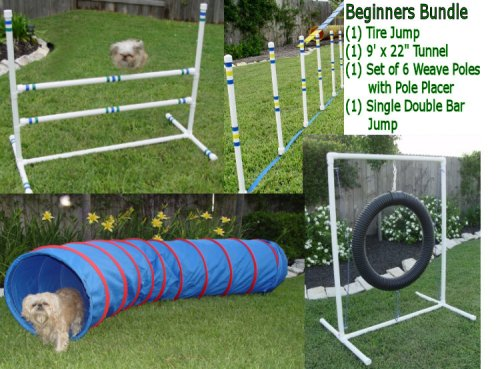 Dog Agility Equipment - Tire Jump, Weave Poles, Single Jump & Tunnel - Beginners Bundle / Package by Weave Poles