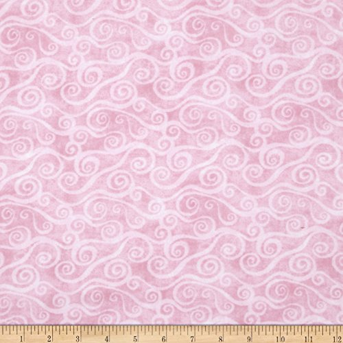 Flannel Wide 108 - Wilmington Prints 108in Wide Quilt Back Flannel Swirly Scroll Pink Fabric by The Yard,