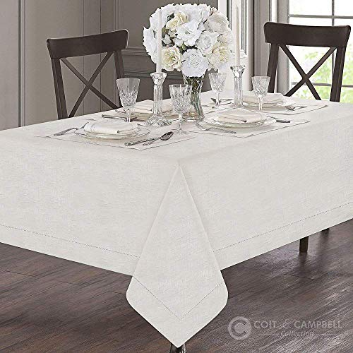 Coit & Campbell 100% Cotton Luxury Designer Tablecloth - Fossil Design with Hemstitch Single Border -'Royal Collection'- Idle for Grand Events and Regular Home Use, Machine Washable (54
