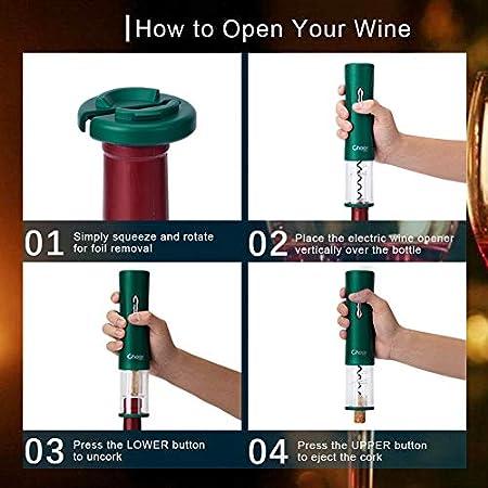 Cheer Moda Abrebotellas de vino, sacacorchos eléctrico para abrebotellas de vino, abridor de vino con cortador de aluminio, batería inalámbrica 4AA funciona con pilas no incluida
