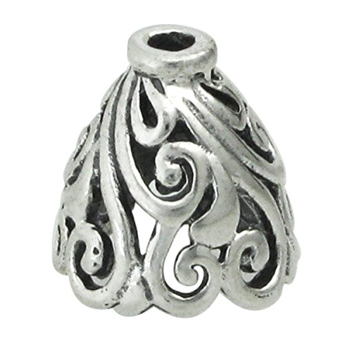 2 pcs .925 Sterling Silver Flower Filigree Bead Cone Cap 10mm / Findings/Antiqued