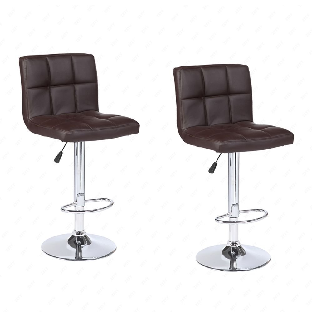 BROWN Modern Set of 2 Bar Stools Leather Adjustable Swivel Pub Chair In Multi Colors