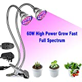 Plant Lamp, 60W LED Grow Lamp, Full Spectrum Dual Head Grow Light, 80...