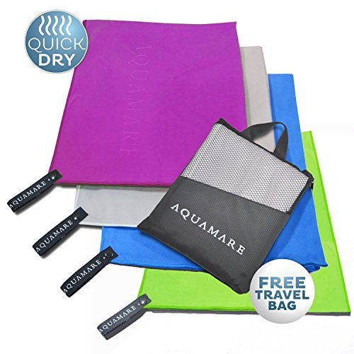 Aquamare Microfiber Towel for Beach, Hair, Travel, Gym, Sports Lightweight, Absorbent Quick Dry Towels Perfect for Yoga, Pool, Golf, Pilates, Camping & Shower Includes Carrying Bag