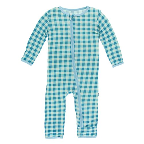 Gingham Shortall Boys (Kickee Pants Little Boys Print Coverall With Zipper - Pistachio Gingham, 18-24 Months)