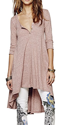 Urban CoCo Women's Half Sleeve High Low Loose T-shirt Tunic Top Dress (L, Pink-1)