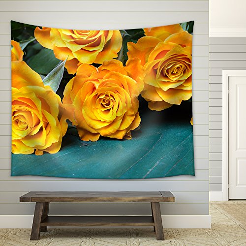 Bouquet of Orange Roses on a Wooden Background Fabric Wall Tapestry