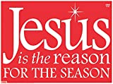 Christmas Holiday Plastic Yard Sign with Display Stand Stake, Pack of 18, 18 Inch (Jesus is the Reason (Red))