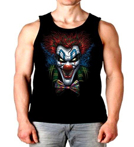 Evil Clown Tank Top Psycho Clown Liquid Blue Mens Muscle Shirt S-2XL (Black, 2XL) ()