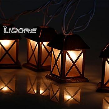 LIDORE Set of 10 Warm White Glow Bronze Metal House Shaped Lantern Plug-in String Light