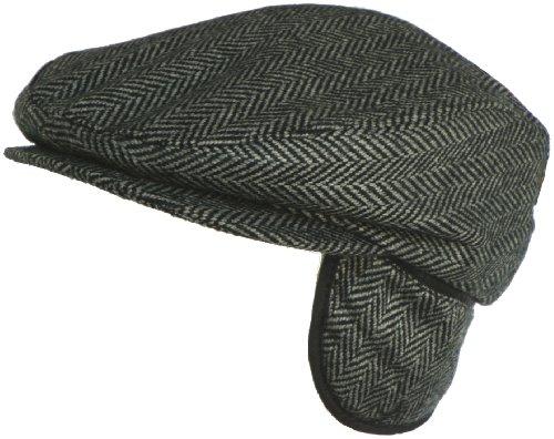 Broner Wool Herringbone Ear Flap Ivy Cap (Black, L (7 3/8))