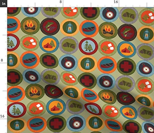 Badges Fabric - Badges Nature Merit Patches S Mores Smores Camping by Laine and Leo Printed on Petal Signature Cotton Fabric by The Yard ()