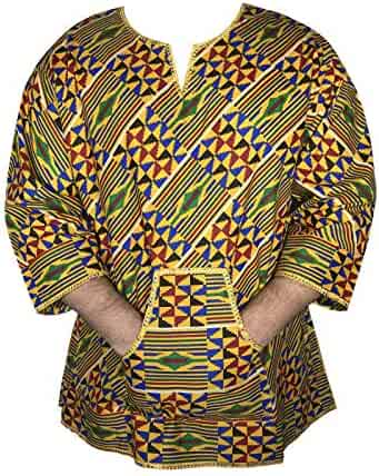 56b9a734f735 Men African Dashiki Blouse Kente Fabric Traditional Ethnic Style Shirt  Poncho