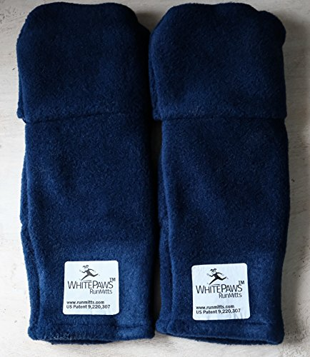WhitePaws Two Ply Velour Polar Tec Running Mitten- Navy- Sizes Small (Pack of 5 Pair) by WhitePaws RunMitts