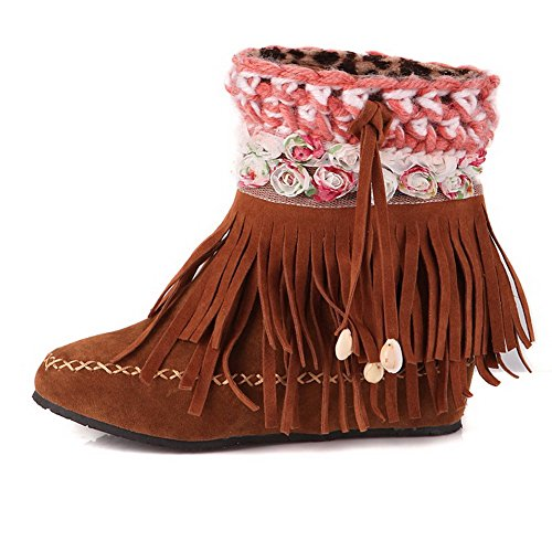 AllhqFashion Womens Frosted Pull On Round Closed Toe Kitten Heels Low Top Boots with Flowers Camel BOdtiooGRg