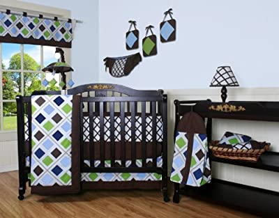 Boutique Blue Brown Diamond 13pcs Crib Bedding Set from GEENNY