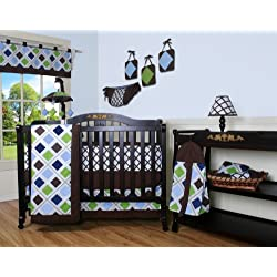 GEENNY Boy's 13 Piece Crib Bedding Set, Blue/Brown Diamond