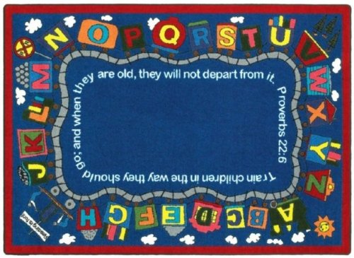 Faith Based Bible Train Kids Rug Rug Size: 7'8'' x 10'9'' by Joy Carpets