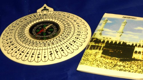 Compass With Book Of Direction Of Kaaba