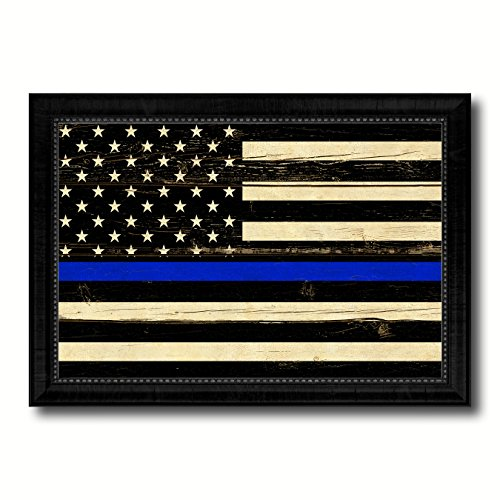 Blue Lady Painting - Thin Blue Line Honoring our Men and Women of Law Enforcement American Police USA Vintage Flag Black Framed Canvas Print Home Decor Wall Art Gifts Signs Cards 21