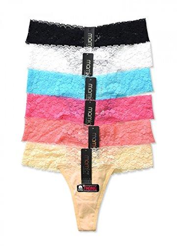 hong Panty w/ Ruched Trim 6pk (Rainbow Lace Trim),Large ()